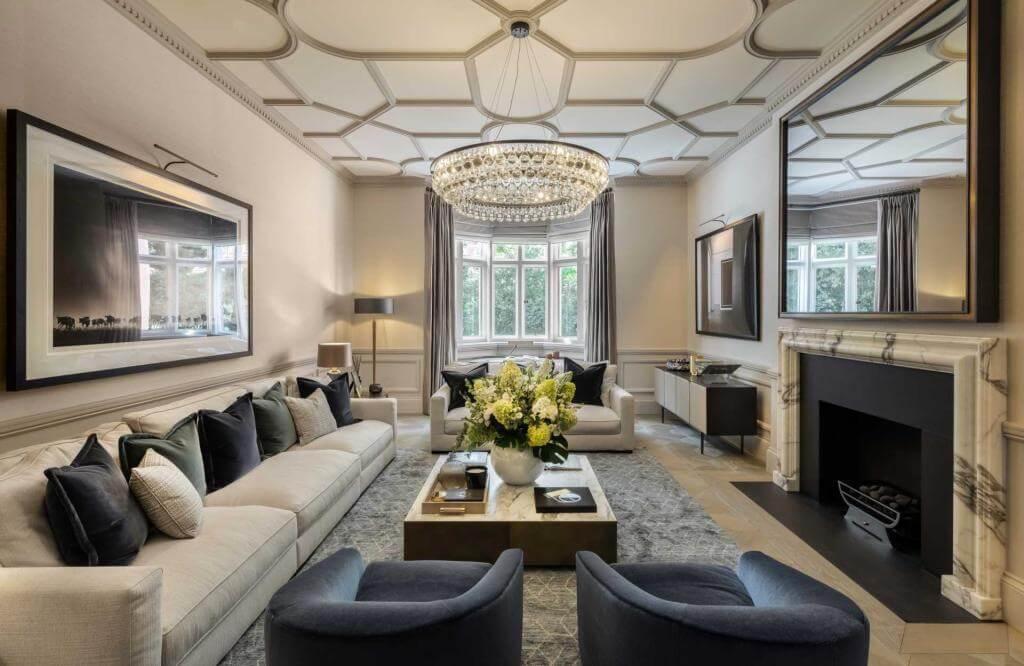 Blue Grey Contemporary Living Room
