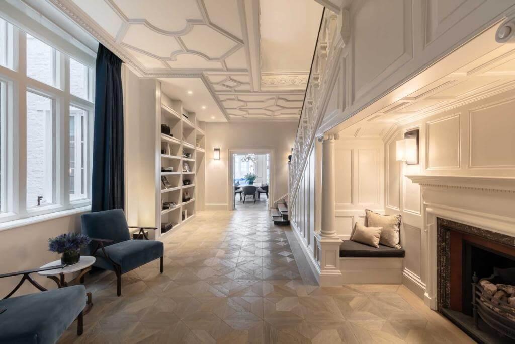 Blue Grey Contemporary Hallway